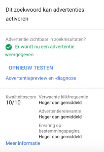 Google Ads Kwaliteitsscore Overzicht