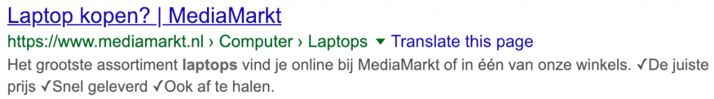 Rich snippets breadcrumbs